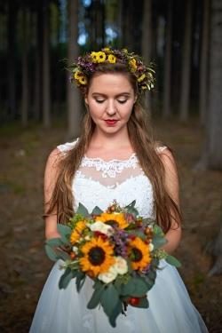 svatební kytice slunečnice