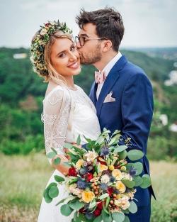 letní boho svatební kytice